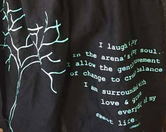 Scarf with tree and quote