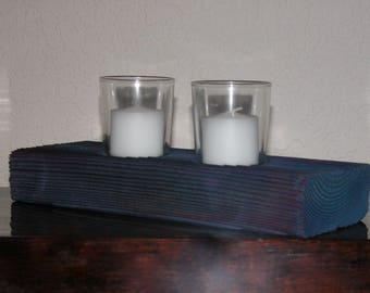 Votive Candle Holder - Unique Sandblasted Blue Wood Candle Holder - Shabby Chic Decor