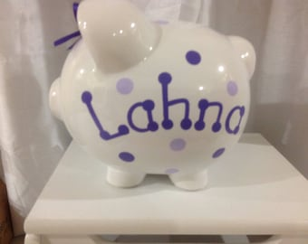 Personalized Large Piggy  Bank Polka Dots and Stripes, lavender , purple- Baby Showers Christenings, Birthdays