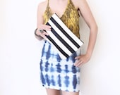 Striped Bag, Black and White, Leather Clutch, Black Leather Bag, white Leather Clutch, Stripes, Clutch Purse