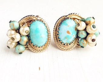 Vintage Clip On Cluster Earrings Turquoise Robins Egg Blue Huge Glass Beaded  Faux Pearl