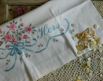 "Sweet Embroidered ""Hers"" Pillowcase #111"