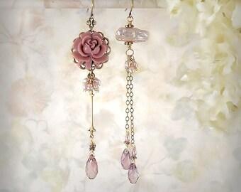 Pink Asymmetrical Earrings Pink Rose Earrings Mauve Pink Flower Earrings Pink Freshwater Pearl Earrings Romantic Pink Crystal Teardrop