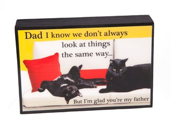 Gifts For Dad, Dad Gifts, Art On Wood, Dad Birthday Gift, Cat Art, Fathers Day Gift, Thank You by Deborah Julian