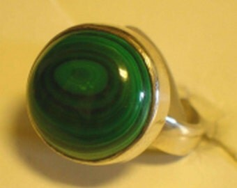 Round Malachite & Sterling Silver Ring