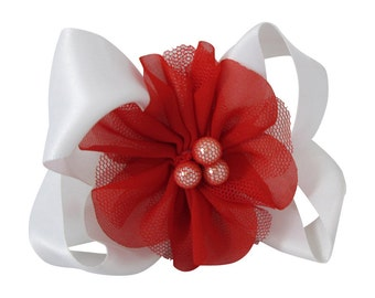 Red & White Flower Girl Hair Bow- Choose Colors - Ivory or White - Chiffon Pearl Flower for Wedding or Girls