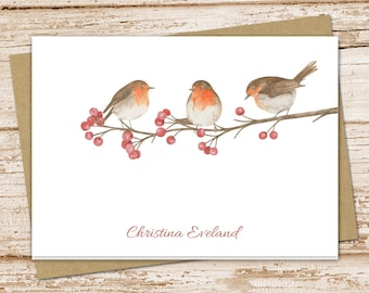 personalized robin note cards . robins stationery . stationary . watercolor folded cards . birds, nature, berry tree notecards . set of 8