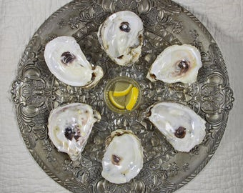Faux Sterling Silver Oyster Plate with real oyster shell wells