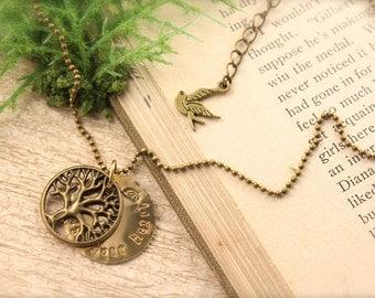 Tree Trust Your Heart Bird Necklace