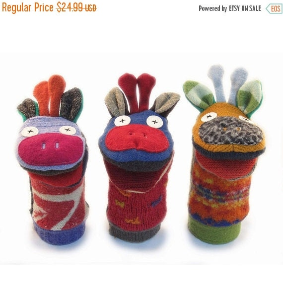 ON SALE Cate and Levi  Handmade Giraffe Hand Puppet (Premium Reclaimed Wool), Colors Will Vary