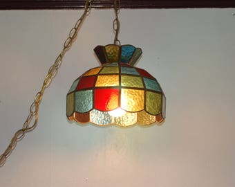 Multi-Color Textured Stained Glass Leaded Hanging Ceiling Lamp w/ Chain, Slag Glass Shade, 1970's Decor, Pool Room Hanging Light, Game Room