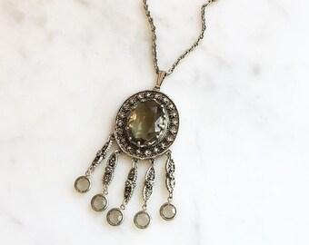 Vintage 60s Filigree Gray Rhinestone Tassel Pendant Necklace by Goldette