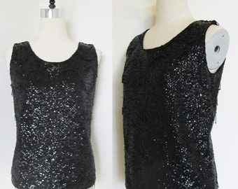 40% OFF SALE Vintage 1950's Black Beaded Blouse Top / Sequined Bead Sleeveless Shirt Size Medium / Made in Hong Kong