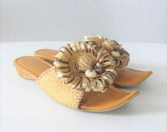 40% OFF SALE Vintage 1960's Beach Island Sandals / Straw Ethnic Unique Open Toe Size 6 Woman's Shoes