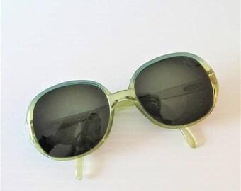 40% OFF SALE Vintage Christian Dior Designer Eyeglasses / Clear Green Large Frame Eye Wear Sunglasses ** FREE Shipping