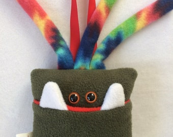 Tooth Fairy Pillow | Olive Green and Tie Dyed Tooth Monster | Tooth Fairy Monster Pillow