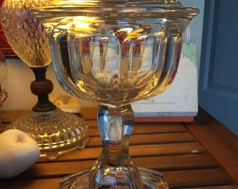Whale oil pressed glass lamp copper top