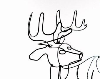Deer Wire Sculpture, Deer Wire Art, Trophy Buck Wire Sculpture, Stag Art, 496559806