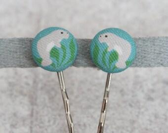Manatee Fabric Button Bobby Pin Pair