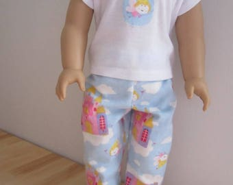 American Girl Pajama Set.  18 inch doll Castle and Fairy Tale print Pajamas with Slippers. Fairy Tale Sleep or lounge pants