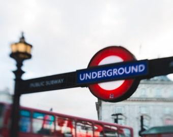 Photo, London Underground Sign, England, UK art, Cityscape, Travel Photography, Urban Landscape, Home Decor, Anglophile, Wanderlust Print