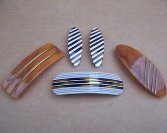 Vintage hair barrettes 5 mod style mid century hair accessory hair jewelry hair clip hair slide headpiece headdress