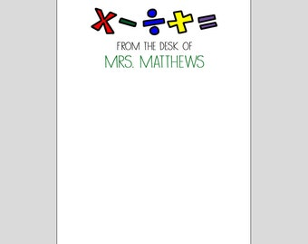 Personalized Math Teacher Notepad ~ Teacher Gift ~ 3 Sizes