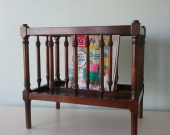 Wooden Magazine, Record Rack, Book Holder, Wooden Spindle Rack, Organizer, Holder, book rack