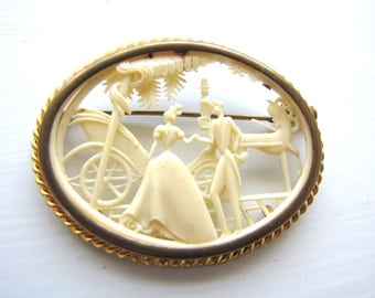 Vintage Celluloid Pin Brooch French Depose from AllieEtCie