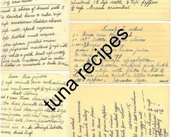 REAL tuna recipes, handwritten, not reproductions