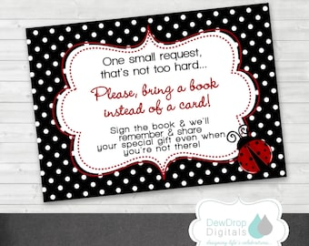 Ladybug Baby Shower Book Instead of Card INSTANT DOWNLOAD Card Matching Digital DIY printable Lady Bug Ladybugs Bring a Book