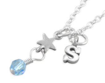 Star Necklace, Sterling Silver, tiny, custom birthstone, initial, little girls birthday, minimalist toddler jewelry, small letter charm SARA