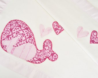 Organic Pink Baby Blanket with Whales for Baby Girl--  Free Personalization