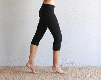 Black Cropped Leggings - Black Organic Cotton Leggings - Cropped Leggings - Yoga Pants - Black Capri Leggings - Best Leggings - Organic Yoga