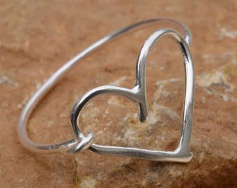Silver Heart Ring Love Gift Anniversary Gift Heart Jewelry Heart Stacking Ring