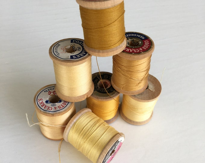 Vintage Wooden Spools Pale Yellow Gold Thread Lot