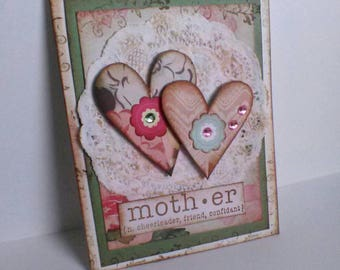 Happy Mothers Handmade Greeting Card, Birthday Card for Mom