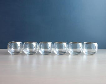 Set of 6 silver Mad Men glasses | Dorothy Thorpe roly poly glasses | Vintage 1960s barware | 5 oz roly poly glasses