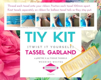 DIY Tassel Garland Kit, DIY Tassel Kit, tassel garlands, parties, shop display, photo shoot, Wedding Whites