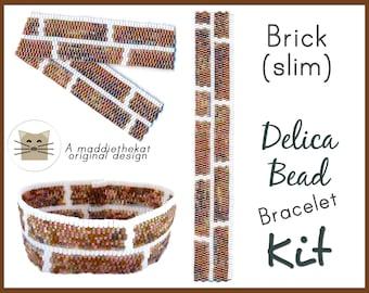 Brick Wall Slim Bracelet Delica 2-Drop Peyote Seed Bead Pattern or KIT DIY