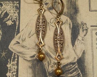 Art Deco Earrings - Downton Abbey Style - Miss Fisher Jewelry - Long Dangle Earrings - Flapper Earrings - Gift for Her - Womens Jewelry