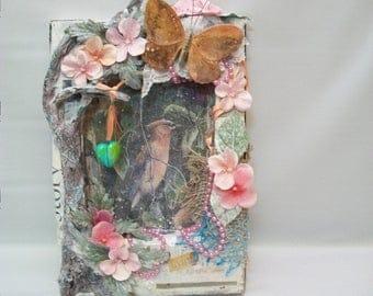 Handmade Mix Media Art, Shadow Box Canvas, Mix Media Canvas Art, Paper Mache Shadow Box, 3 Dimensional Art, Mix Media Frame, Unique Art