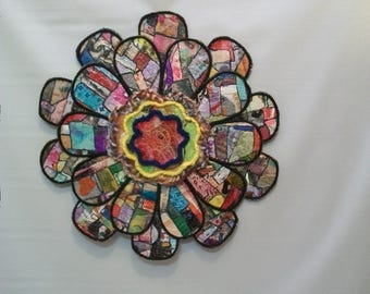 Handmade Mix Media Wall Art, Quilted Paper and Fabric Art, Large Mix Media Wall Flower,  Paper Mosaic Quilted Art, Original Art Piece