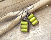 Spring Small Lime Green Rustic Copper Earrings