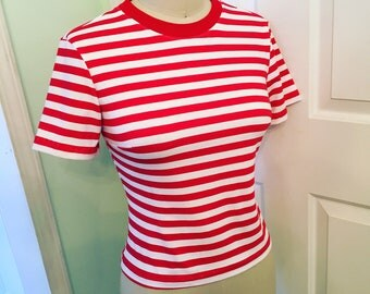 Norma Jeane's 1940s Style Red White Stripe Top Set Size M Medium Ready to Ship