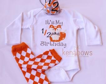 It's My 1/2 Birthday Embroidered Shirt, Fox Half Birthday Bodysuit, 1/2 Birthday Hat, Baby Boy 6m Woodland Fox, 6 month Pictures, baby girl