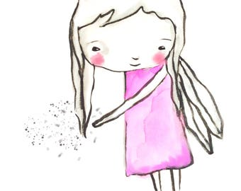 Instant Download -  Angel / fairy art print, watercolor print, baby gir, nursery illustration, nursery wall art, sweet