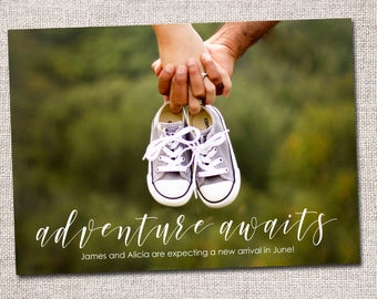 Pregnancy announcement, baby announcement, photo card, baby on the way: PRINTABLE  (Adventure Awaits)
