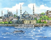 Istambul Mosques original watercolor painting