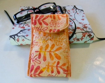Orange Batik Glasses Case